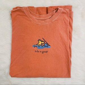 Life Is Good Orange Tshirt Tee Dog Driving Car XXL